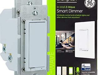 GE Enbrighten Z Wave Plus Smart Dimmer  Full Dimming  in Wall White   light Almond Paddles  Repeater Range Extender  Zwave Hub Required  Works with Ring  SmartThings  Wink  Alexa  2 Pack  54558