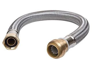 SharkBite U3088FlEX18lF Flexible Water Heater Connector 3 4  FIP  3 4 Inch x 3 4 Inch x 18 Inch length  Stainless Steel