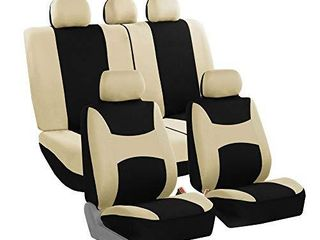 FH Group FB030BEIGEBlACK115 full seat cover  Side Airbag Compatible with Split Bench Beige Black