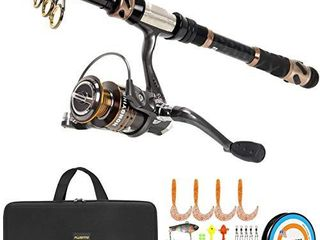 PlUSINNO Fishing Rod and Reel Combos  24 Ton Carbon Fiber Telescopic Fishing Pole   Spinning Reel 12  1 Shielded Bearings Stainless Steel BB Free Carrier Bag Case  Travel Saltwater Freshwater Fishing