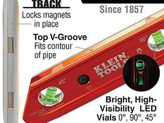 Klein Tools 935RBlT level  lighted Torpedo level with Magnet  3 Vials and V Groove  Water and Impact Resistant  Great for Conduit Bending