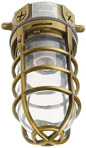 Woods l1706AB Vandal Resistant 150W Incandescent Security light  Ceiling Mount  Antique Brass