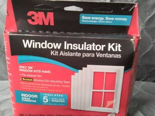 3M Indoor Window Insulator Kit  Window Insulation Film for Heat and Cold  5 16 ft  x 17 5 ft  Covers Five 3 ft  by 5 ft  Windows