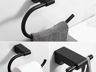 BESy Black 3 Piece Bathroom Accessories Set  Towel Ring Bar  Toilet Paper Holder  Double Towel Hooks  Wall Mounted Bath Hardware Accessory Fixtures Set  Stainless Steel   Matte Black Finish