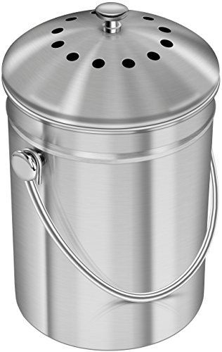 Utopia Kitchen Compost Bin for Kitchen Countertop   1 3 Gallon Compost Bucket for Kitchen with lid   Includes 1 Spare Charcoal Filter  Silver