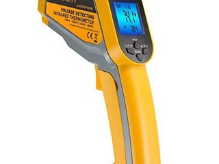 Etekcity Infrared Thermometer 1025D  Not for Human  Dual laser Temperature Gun with Adjustable Emissivity  Non Contact Voltage Tester  NCV  Standard Size  Yellow   Gray