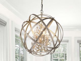 Benita Brushed Champagne Metal and Crystal Orb 4 light Chandelier   Retail 203 49