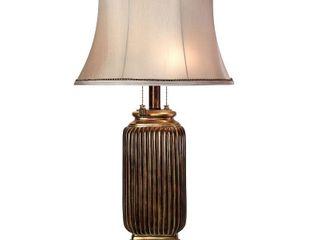 StyleCraft Winthrop Dark Brown With Khasi Silver Table lamp   Silver Fabric Shade   Retail 106 99