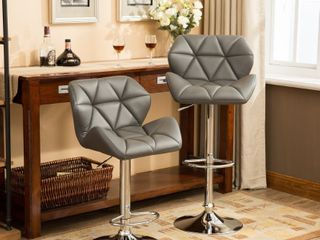 Roundhill Furniture Glasgow Contemporary Tufted Adjustable Height Hydraulic Bar Stools  Set of 2  Grey   Retail  136 49