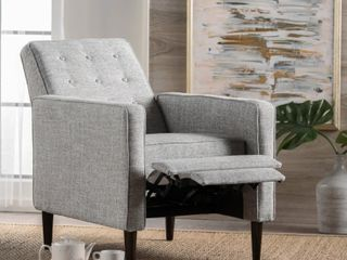 Mervynn Mid century Button Tufted Fabric Recliner Club Chair by Christopher Knight Home   Retail   222 99