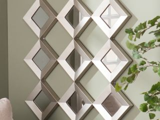 Silver Orchid Olivia Mirrored Squares Wall Sculpture   Antique Silver   Retail   98 99