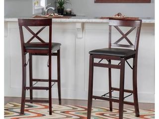 linon Counter Stool BROWN WITH BROWN lEATHER SEAT