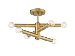 Aged Brass Modern 6 light Semi Flush Sputnik Ceiling light Retail 117 49