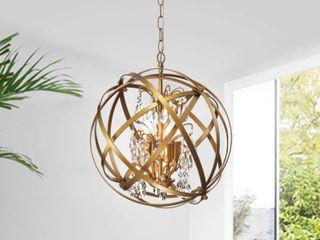 Benita Yellow ish Gold 4 light Metal Globe Crystal Chandelier  Retail 145 99