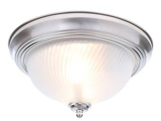 Hampton Bay 11 in  2 light Brushed Nickel Flush Mount with Frosted Swirl Glass Shade