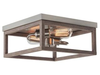 Hampton Bay Boswell Quarter 12 5 in  2 light Brushed Nickel Flush Mount with Painted Weathered Gray Wood Accents