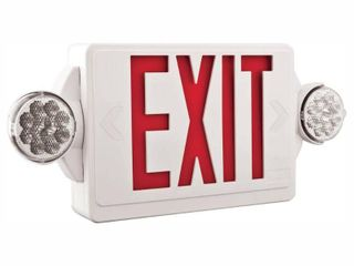 lithonia lighting lHQM lED R M6 lED Emergency Exit Unit with Red letters  White