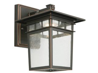 Design House 578401 Dayton Integrated lED Outdoor Indoor Wall light with Clear Glass for Porch Entryway Patio  Oil Rubbed Bronze