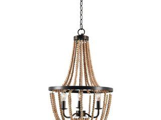Kenroy Home Regas Golden Bronze 3 light Wood Bead Chandelier