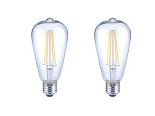 EcoSmart 40 Watt Equivalent ST19 Antique Edison Dimmable Clear Glass Filament Vintage Style lED light Bulb Daylight  8 Pack