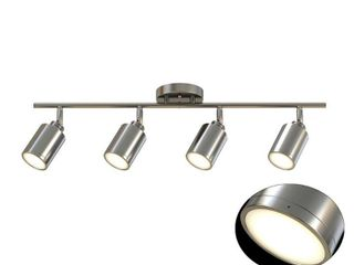 Monteaux lighting 31 5 in  4 light Brushed Nickel Integrated lED Track lighting Kit