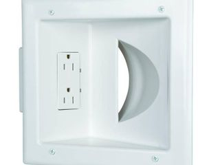 Commercial Electric White 1 Gang 1 Decorator Rocker 1 Duplex Cable Pass Through Wall Plate  1 Pack