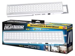 Bell   Howell light Bar 60 lEDs with Super Bright 720 lumen Output a All Day Power  Rechargeable with Auto light Sensor  Xl 16 5a Size with Kickstand  As Seen on TV
