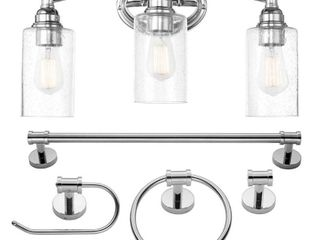 Globe Electric 20 in  5 Piece Bath in a Box Chrome Vanity light with Seeded Glass Shades