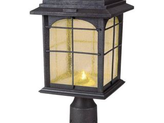 Hampton Bay Solar Outdoor Hand Painted Sanded Iron Post lantern with Seedy Glass Shade