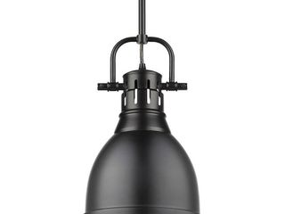 Duncan Small Pendant with Rod in Black with a Matte Black Shade