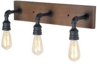 lNC Black Bathroom Vanity light Rustic Metal Vanity light Modern Industrial Water Pipe Wall Sconce with Wood Accents