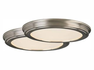 Commercial Electric 13 in  Brushed Nickel lED Ceiling Flush Mount with White Acrylic Shade  2 Pack
