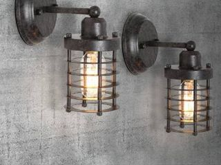 lNC Industrial 1 light Rustic Black Wall Sconce Modern Farmhouse Mini Wall Mount light with Open Cage Shape