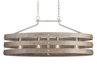 Progress lighting Gulliver 38 5 in  4 light Brushed Nickel Island Chandelier with Weathered Gray Wood Accents