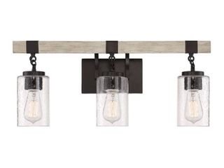 Cordelia lighting 24 5 in  3 light Bronze Vanity light with Clear Seedy Glass Shades