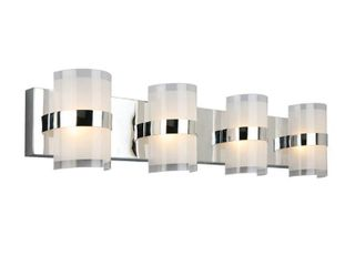 Design House 577791 Haswell Traditional lED 4 light Indoor Bathroom Vanity light Frosted Glass for Over the Mirror  Polished Chrome