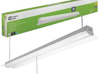 Commercial Electric 4 ft  64 Watt Equivalent Integrated lED White Shop light linkable 3200 lumens 4000K Bright White 5 ft  Cord Included