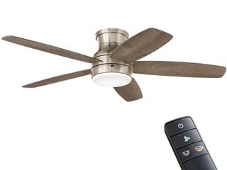 Home Decorators Collection Ashby Park 52 in  White Color Changing Integrated lED Brushed Nickel Ceiling Fan with light Kit and Remote Control