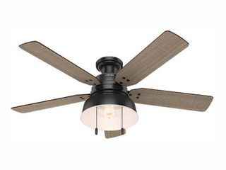 Hunter 52  Mill Valley Matte Black Ceiling Fan with light Kit and Pull Chain