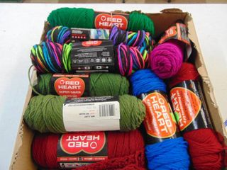 large selection of red heart yarn