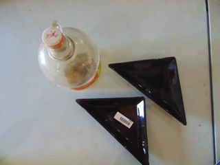 2 Black Triangle Candy Dishes