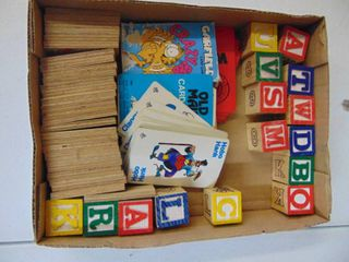 old maid  war  crazy 8 cards  wooden dominos  wooden blocks