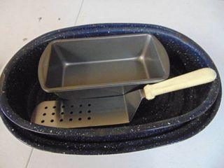 Enamelware Roaster  loaf pans and spatula