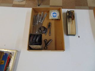 Miscellaneous Kitchen knives a  Tin and Glass Cases