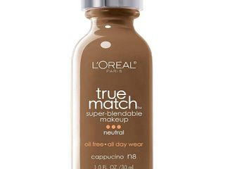 l Oreal Paris True Match Super Blendable Foundation Makeup  Oil Free  Cappuccino N8  1 fl  oz