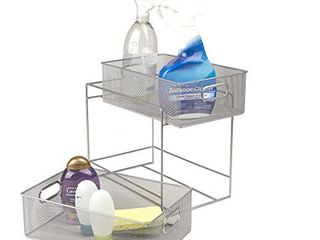 Mind Reader 2 Tier Metal Mesh Storage Baskets Organizer  Silver