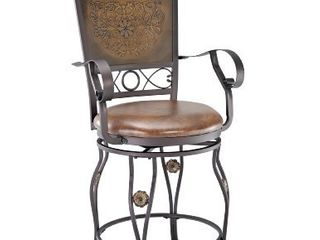 Powell Company Big and Tall Copper Stamped Back Arms Counter Stool  Brown