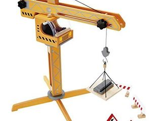 Award Winning Hape Playscapes Crane lift Playset Yellow  l  17 8  W  16 5  H  21 2 inch