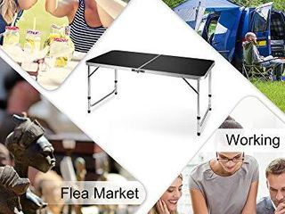 FiveJoy Folding Camping Table  4 FT Aluminum Height Adjustable   47  x 24 Black
