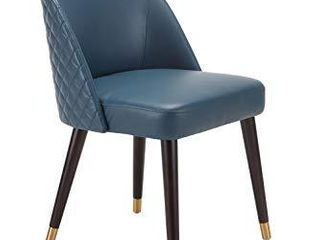 CHITA Mid Century Modern Upholstered Dining Chair  Faux leather  Dark Blue
